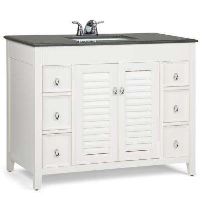 Adele 42 in. W x 21.5 in. D x 34.5 in. H Bath Vanity in Soft White with Granite Vanity Top in Black with White Basin