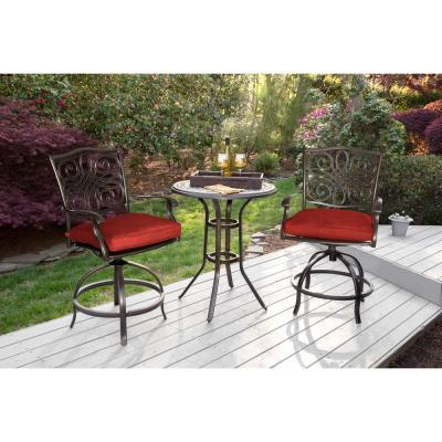 Hanover Traditions 3-pc Aluminum Outdoor Dining Bistro Set w/ Red Cushions and 2-Swivel Chairs