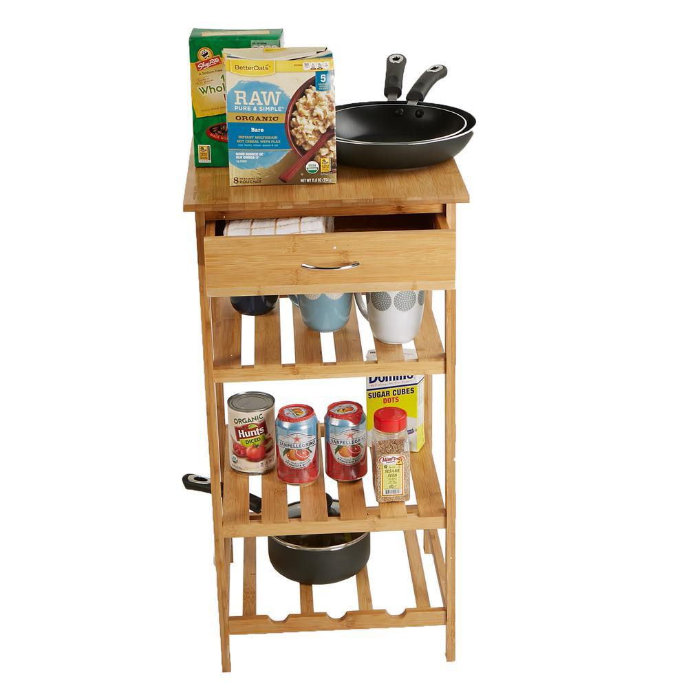 4-Tier Wood Kitchen Storage Rack with Drawer, Brown