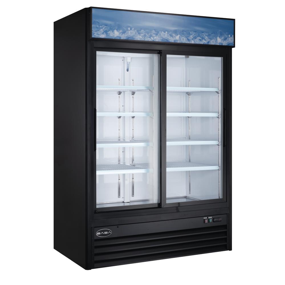 53 in. W 45 cu. ft. Two Sliding Glass Door Merchandiser Commercial Refrigerator in Black