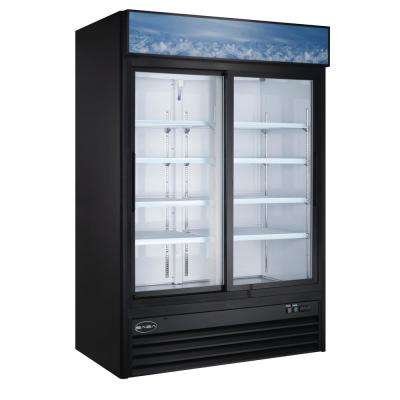 53 in. W 45 cu. ft. Two Sliding Glass Door Merchandiser Commercial Reach In Upright Refrigerator Cooler in Black