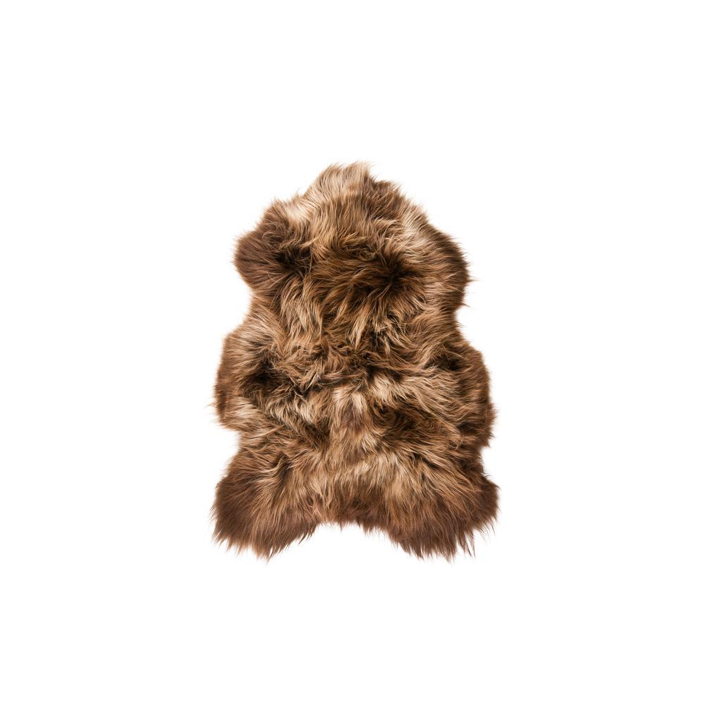 Icelandic Rusty Brisa 2 ft. x 3 ft. Long Haired Single Sheepskin ...