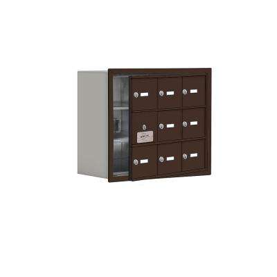 19100 Series 22.75 in. W x 18.75 in. H x 8.75 in. D 8 Doors Cell Phone Locker Recess Mount Keyed Lock in Bronze