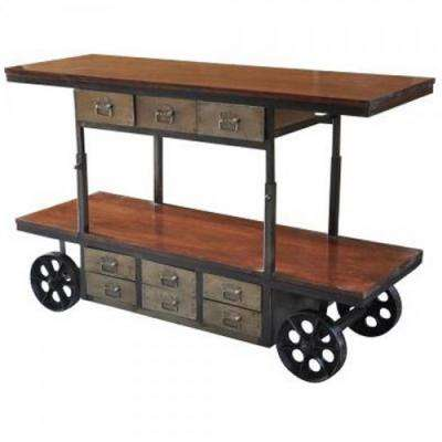 Alynthi Collection Brown Mango and Iron Work Cart