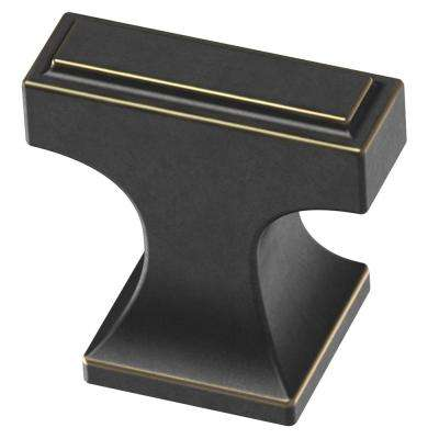 Rectangular Platform 3/4 in. (19mm) Bronze with Gold Highlights Cabinet Knob