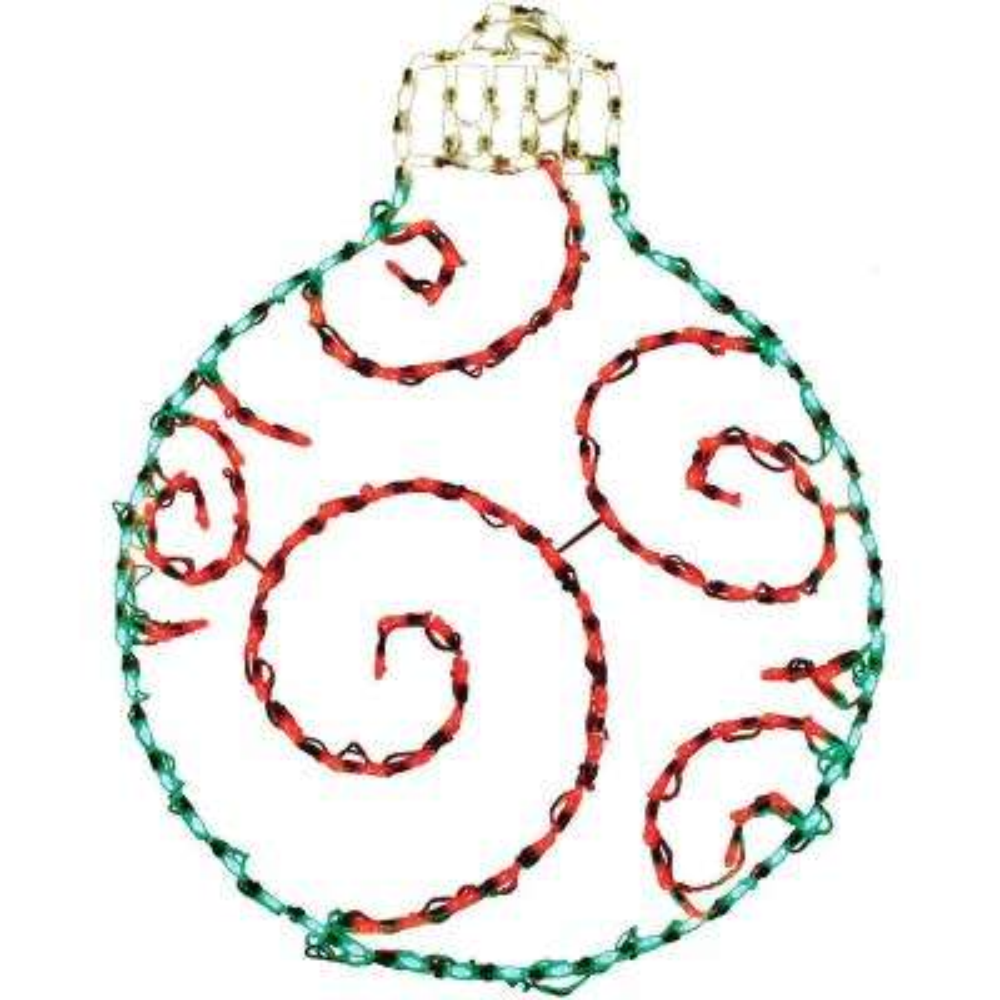3 ft. 156-Light LED Green/Red Round Ornament Novelty Light