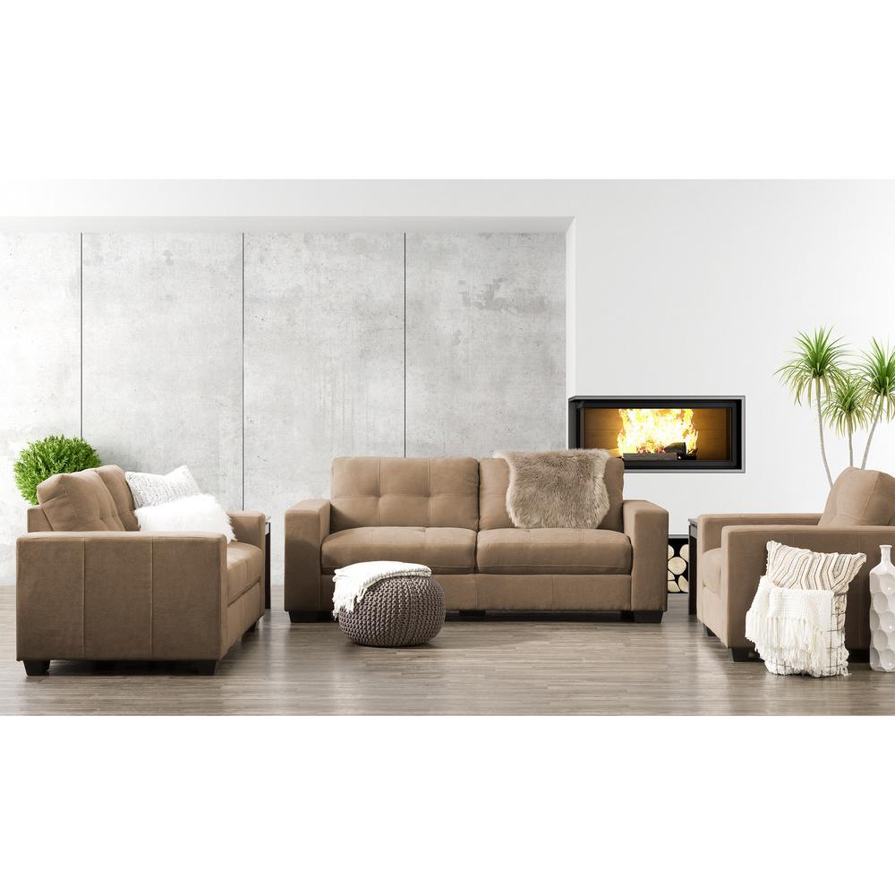 Club 3-Piece Tufted Brown Chenille Fabric Sofa Set