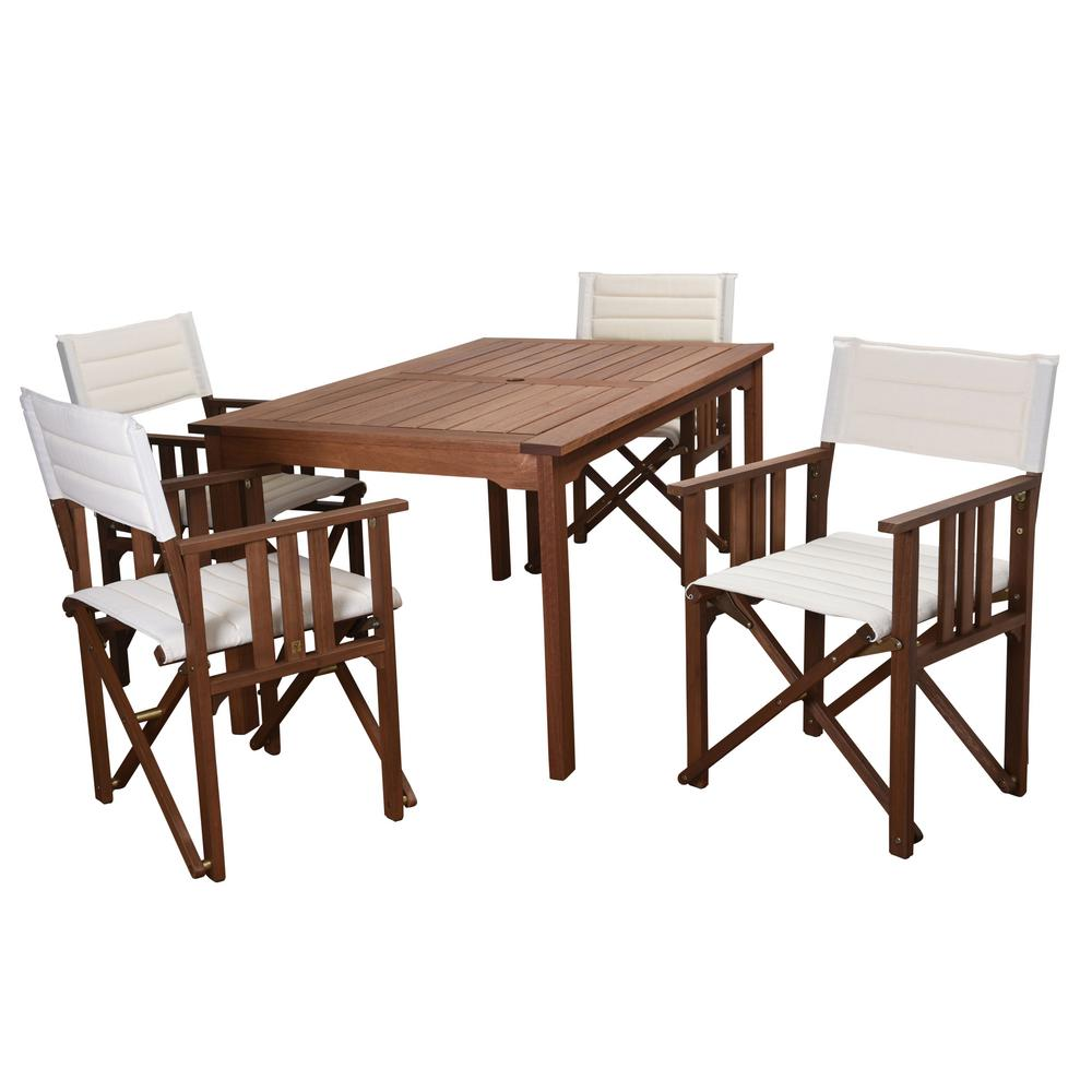 Rio 5-Piece Eucalyptus Rectangular Patio Dining Set with Off White Canvas