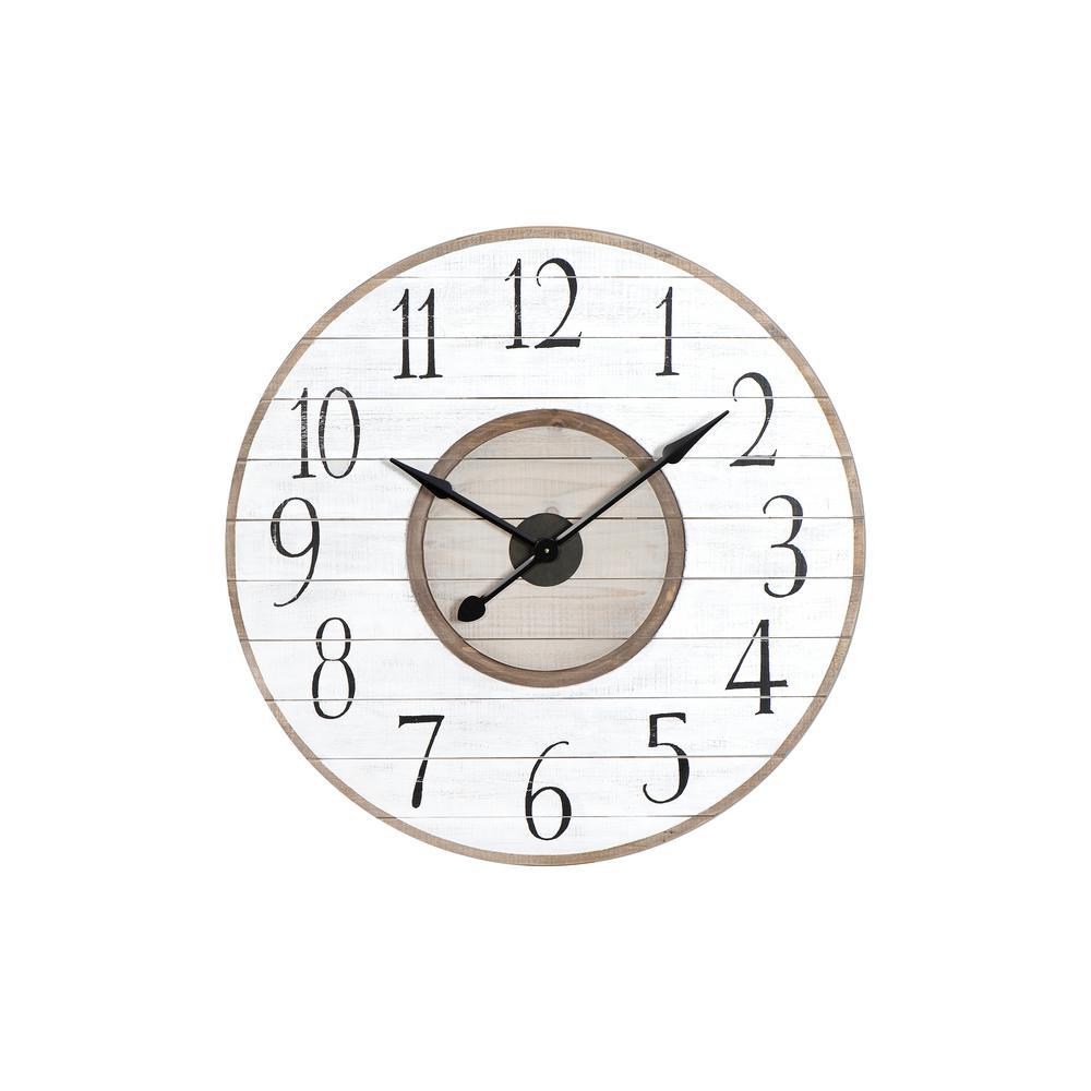 White Distressed Wood Slat Wall Clock