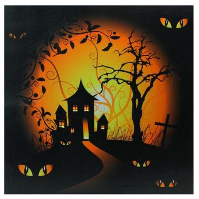 19.75 in. x 19.75 in. LED Lighted Spooky House and Eyes Halloween Canvas Wall Art