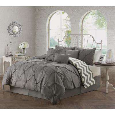 Ella Pinch Pleat 7-Piece Grey Queen Comforter