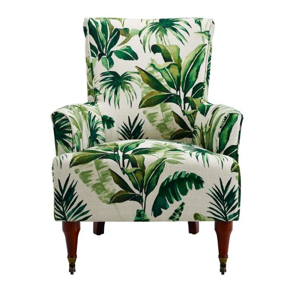 Linon Home Decor Junnell Bold Green Leaf Upholstered Arm Chair THD02015