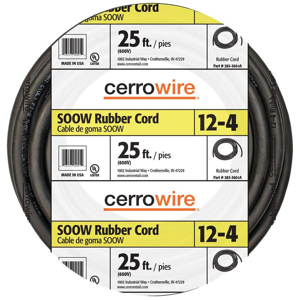 Soow Cable Specifications : Cerrowire ft  volt black soow cord a