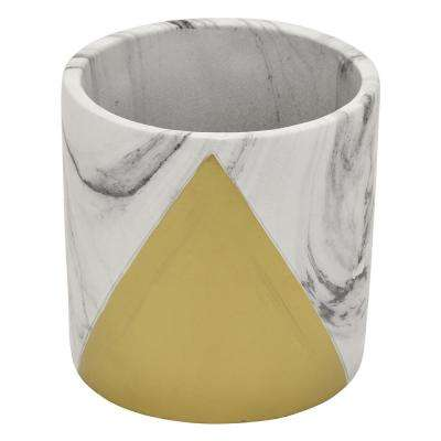 6 in. Marble Look Gold - Gold Flower Pot