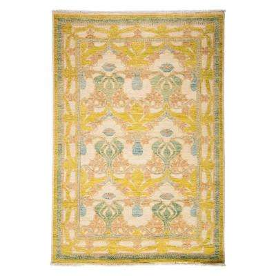 Arts Yellow 6 ft. x 9 ft. Indoor Area Rug