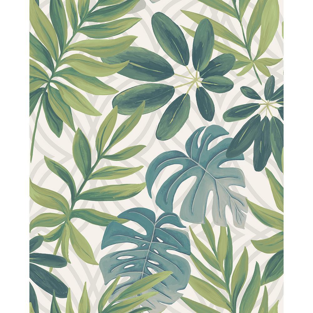 A-Street 8 in. x 10 in. Nocturnum White Leaf Wallpaper Sample
