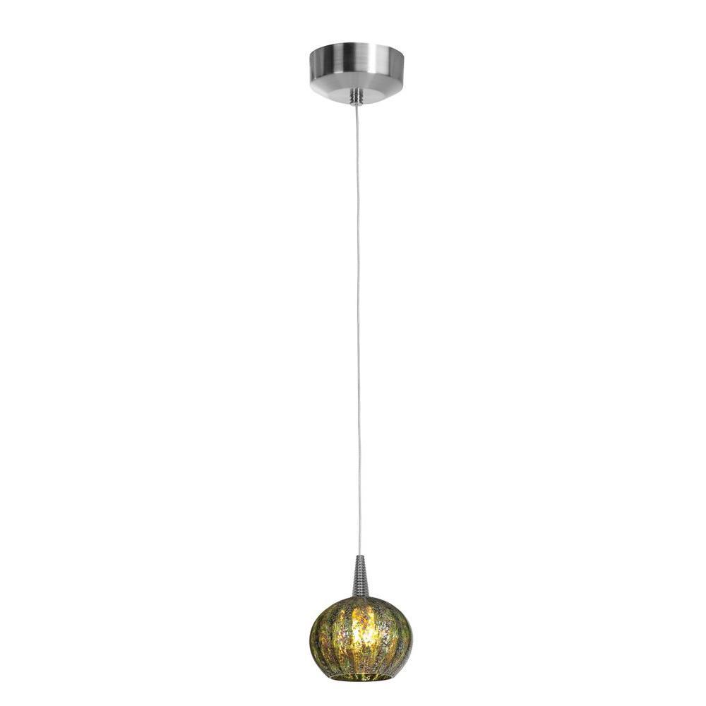 Filament Design Vista 1 Light Brushed Steel LED Pendant-DISCONTINUED