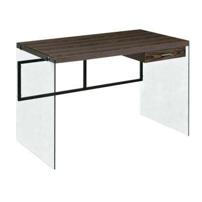 Walnut Escher Skye Computer/Writing Desk, Glass and Wood
