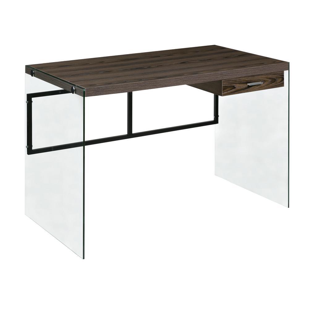 OneSpace Walnut Escher Skye Computer/Writing Desk, Glass and Wood 50-JN19DSKWN
