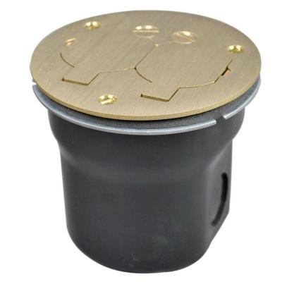 Wiremold 862 Series 3/4 in. 15 Amp Round 2-Outlet Floor Box Brass