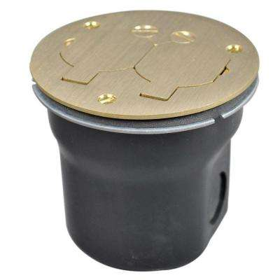 862 Series 3/4 in. 15 Amp Round 2-Outlet Floor Box Brass
