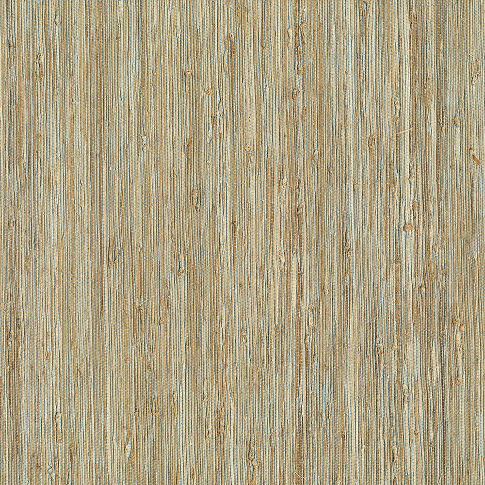 Grasscloth Wallpaper Samples: Kenneth James Patryk Aqua Grasscloth Wallpaper Sample-2622