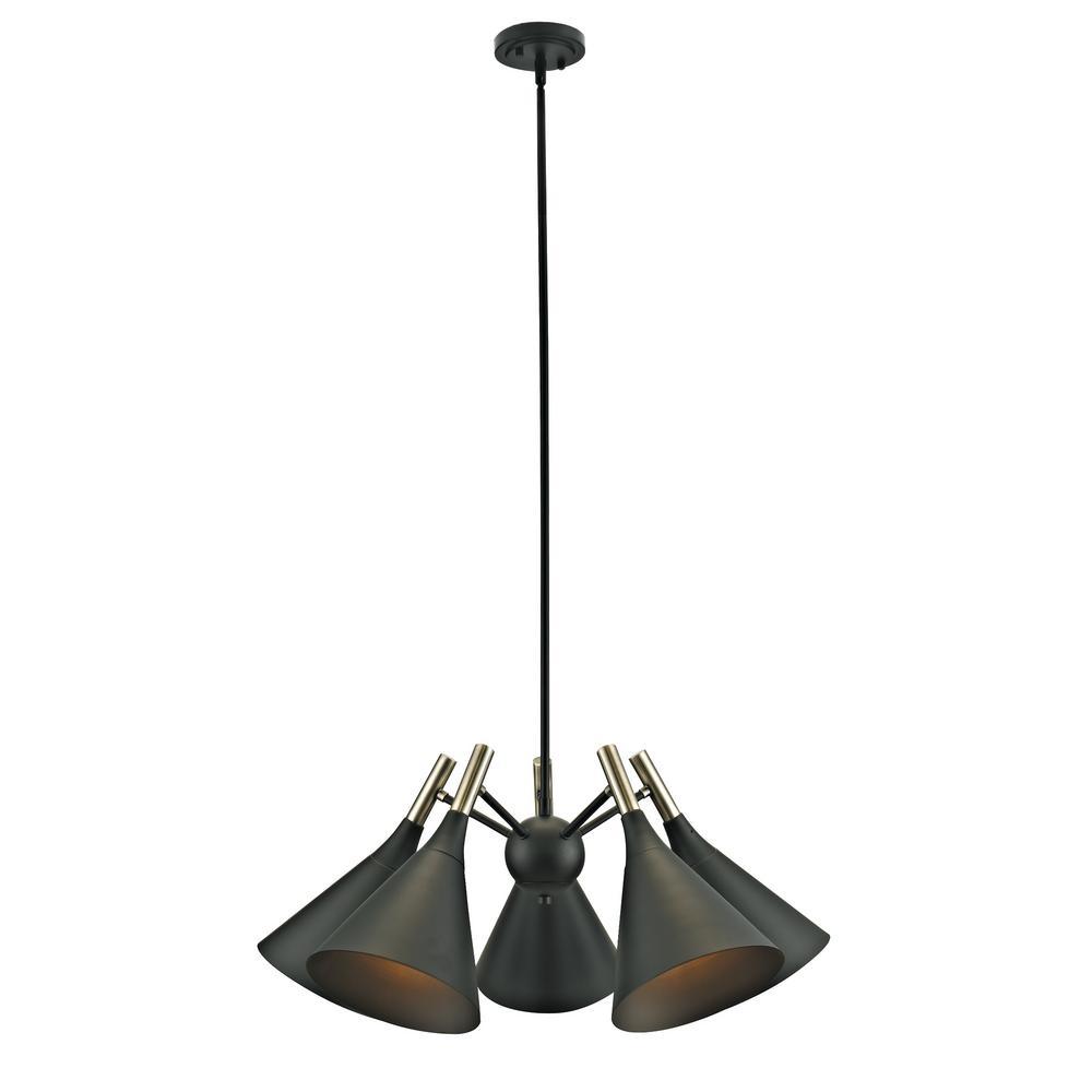 5-Light Dark Bronze and Antique Brass Accents Chandelier Pendant