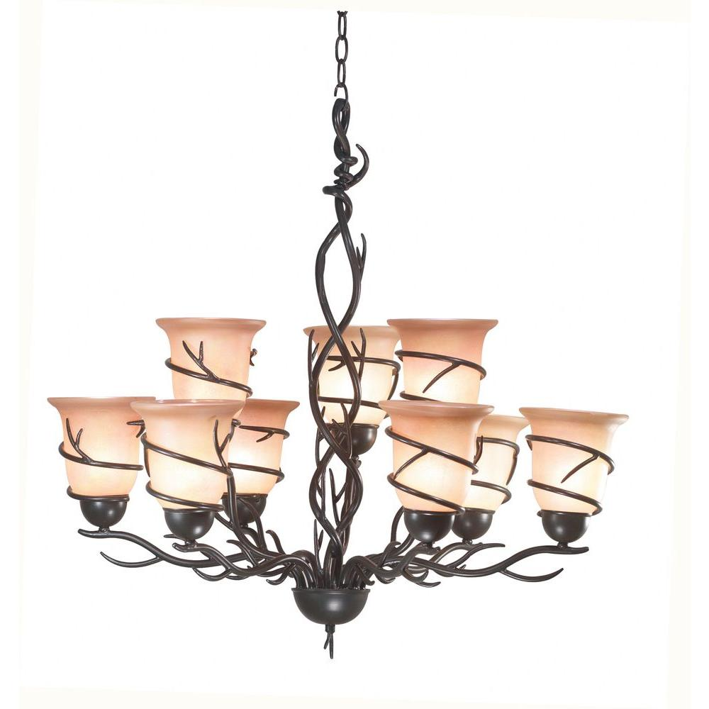 Kenroy home twigs 9 light bronze chandelier 90909brz the home depot kenroy home twigs 9 light bronze chandelier aloadofball Image collections