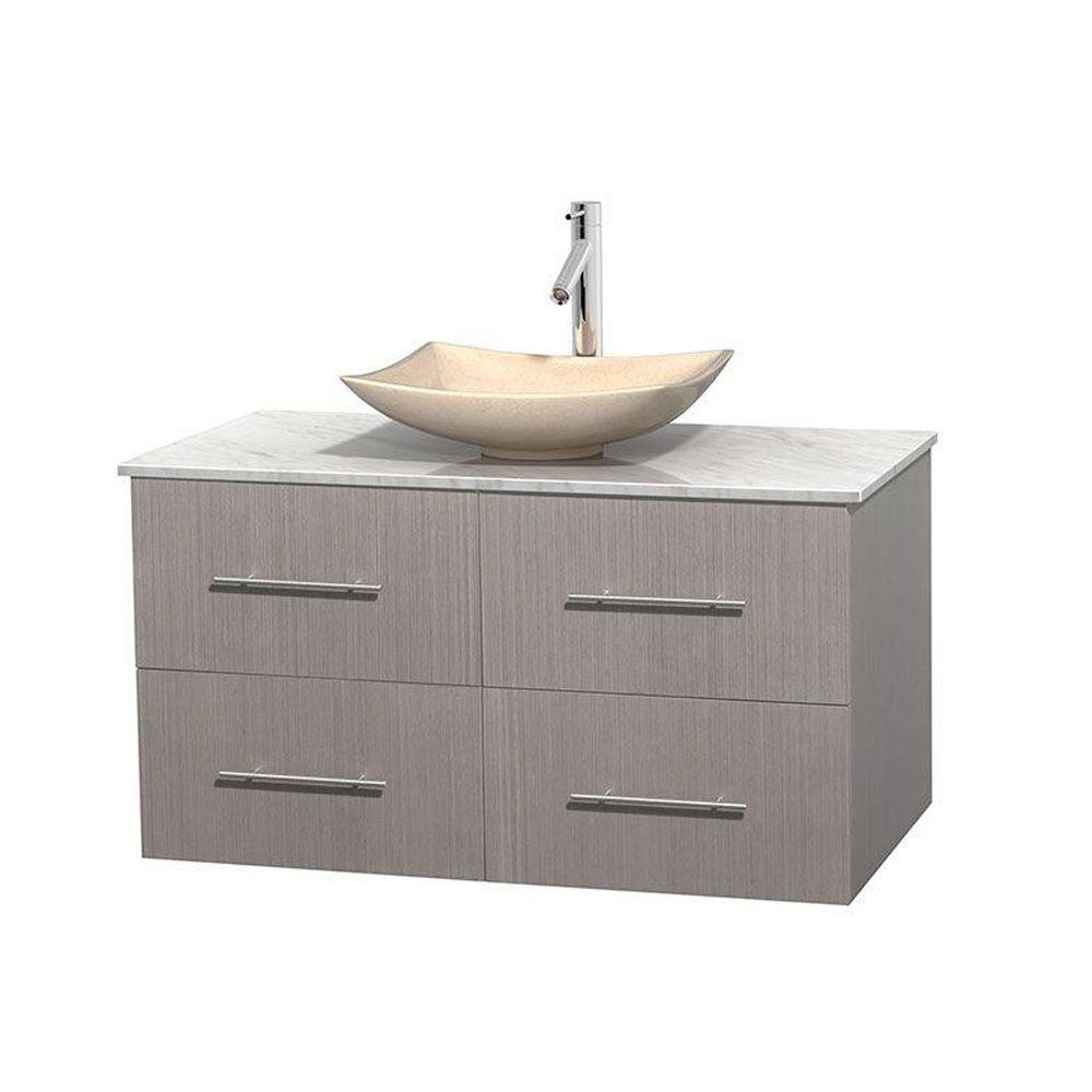 Wyndham Collection Centra 42 in. Vanity in Gray Oak with Marble Vanity Top in Carrara White and Sink