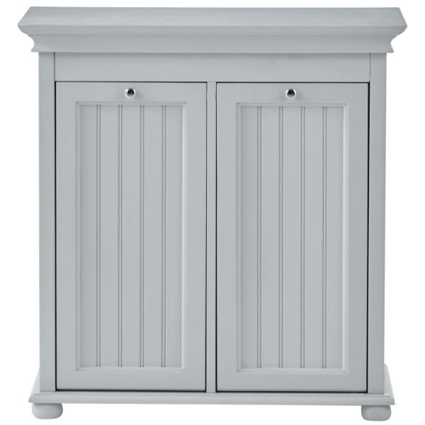 Hampton Bay Dove Grey Double Tilt Out Beadboard Hamper 26 In W Home Decorators Collection