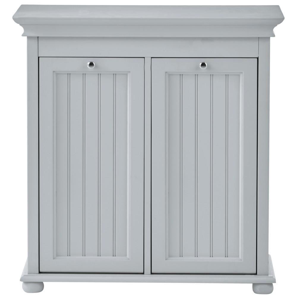 Home Decorators Collection Hampton Bay 26 In W Double Tilt Out Beadboard Hamper In Dove Grey