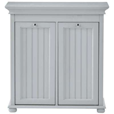 Hampton Bay 26 in. W Double Tilt-Out Beadboard Hamper in Dove Grey