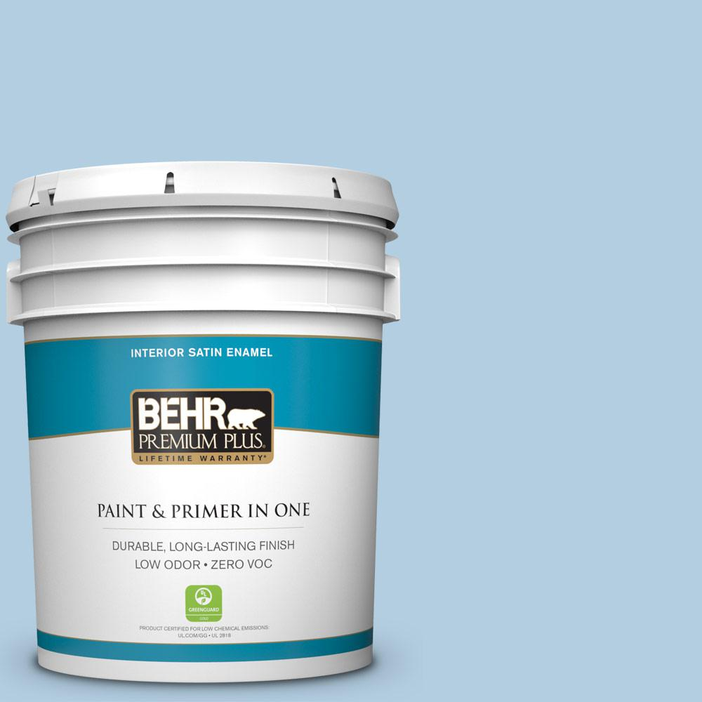 5 gal. #PPU14-14 Crystal Waters Zero VOC Satin Enamel Interior Paint