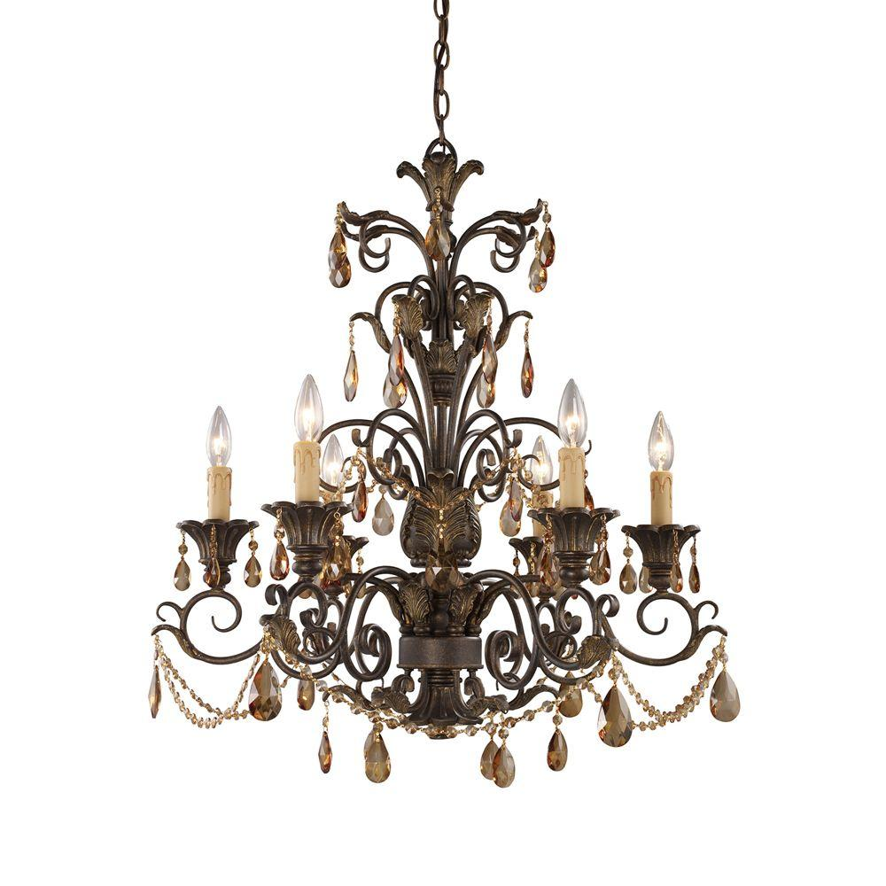 Titan Lighting Rochelle 6-Light Weathered Mahogany Ceiling Mount Chandelier