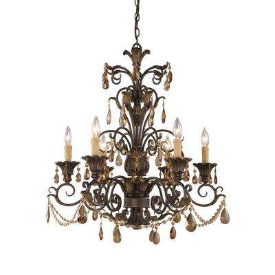 Rochelle 6-Light Weathered Mahogany Ceiling Mount Chandelier