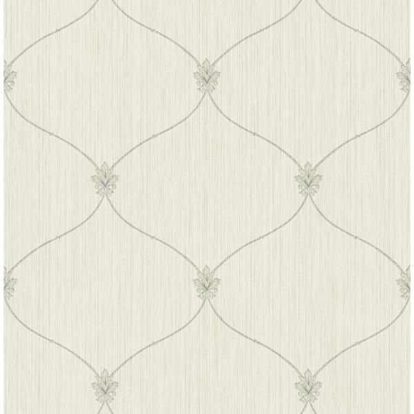 Seabrook Designs Lenox Hill Metallic Silver and Off-White Ogee Wallpaper LD81408