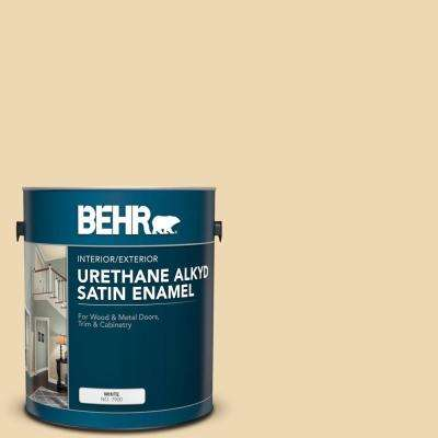 Behr 1 Gal 340e 3 Bavarian Cream Urethane Alkyd Satin Enamel Interior Exterior Paint 790001 The Home Depot