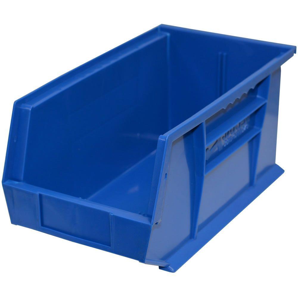 8-1/4 in. W x 14-3/4 in. D x 7 in. H Stackable Plastic Storage Bin in Blue (12-Pack)