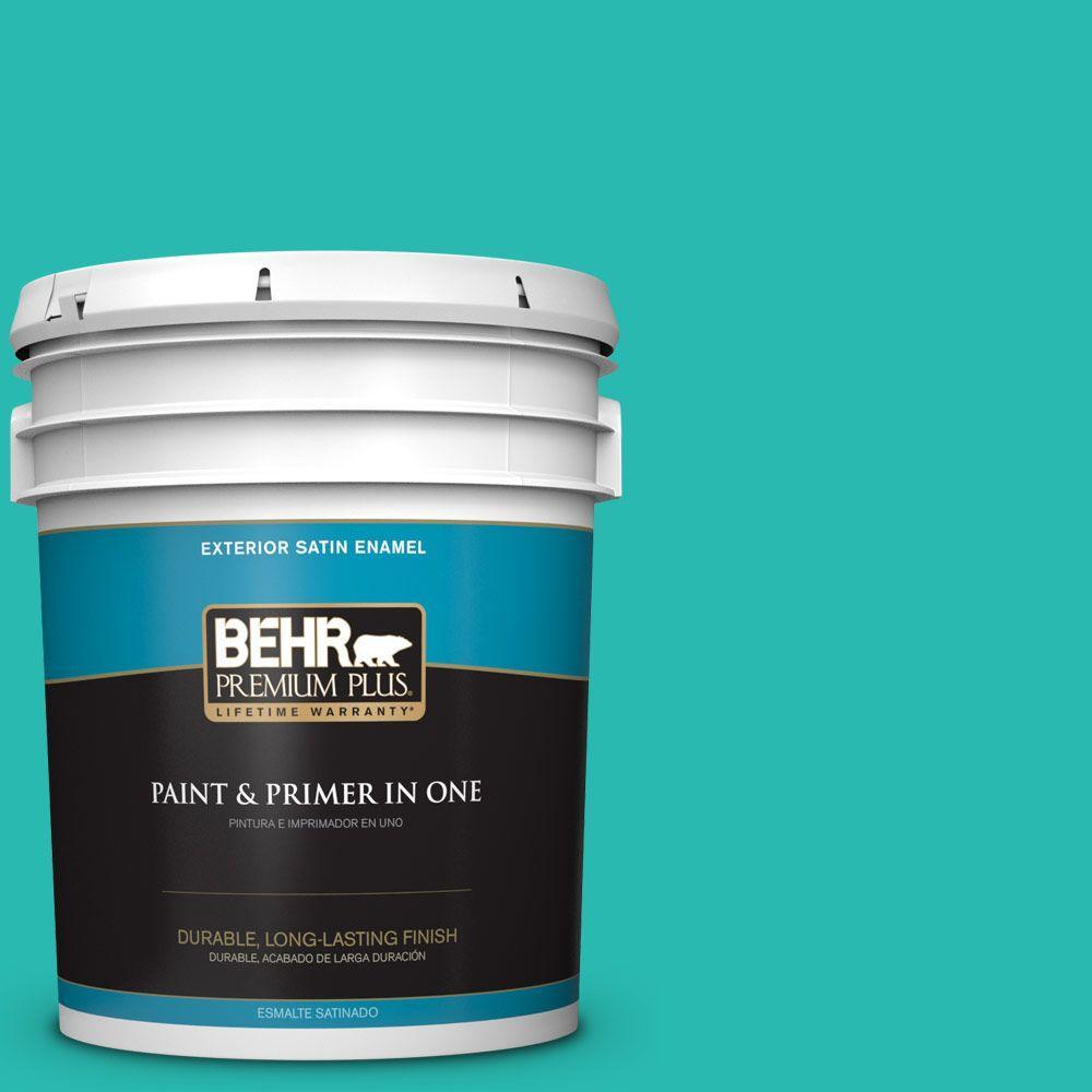 BEHR Premium Plus 5-gal. #P450-5 Island Aqua Satin Enamel Exterior Paint
