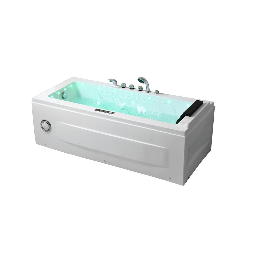Jacuzzi Whirlpool Jacuzzi.Empava 67 In Acrylic Flatbottom Air Whirlpool Bathtub In White