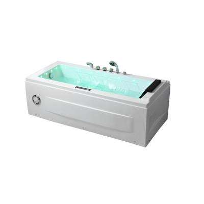 67 in. Acrylic Flatbottom Air Whirlpool Bathtub in White