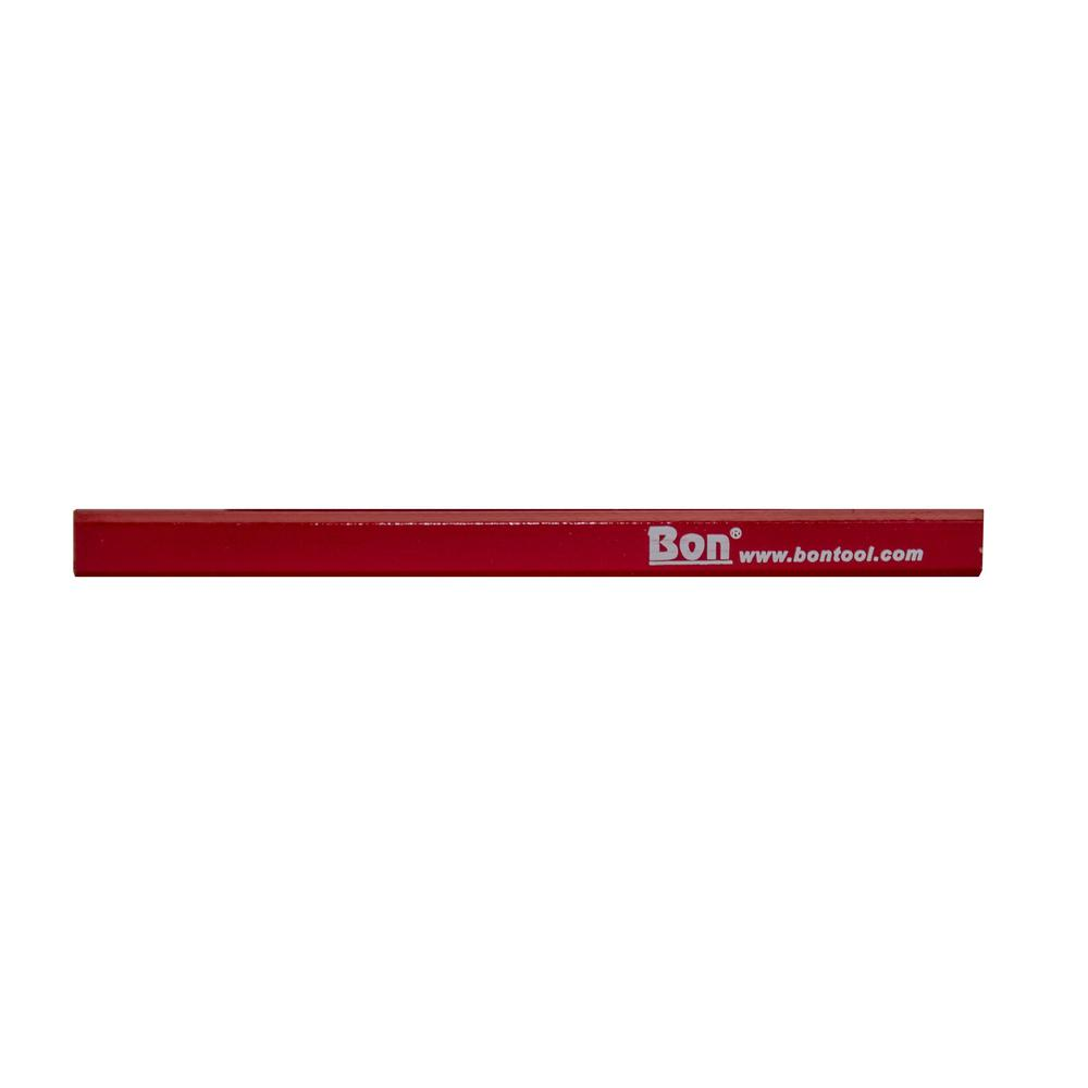 Bon Tool Red Casing Medium Black Lead Carpenter Pencils (12-Pack)