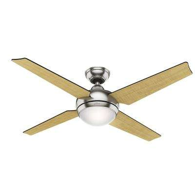 Sonic 52 in. Indoor Brushed Nickel Ceiling Fan with Light Kit and Universal Remote