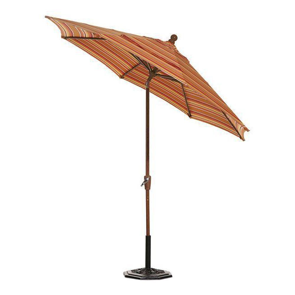 Home Decorators Collection Sunbrella 10 ft. Auto-Crank Tilt Patio Umbrella in Dolce Mango Stripe-DISCONTINUED