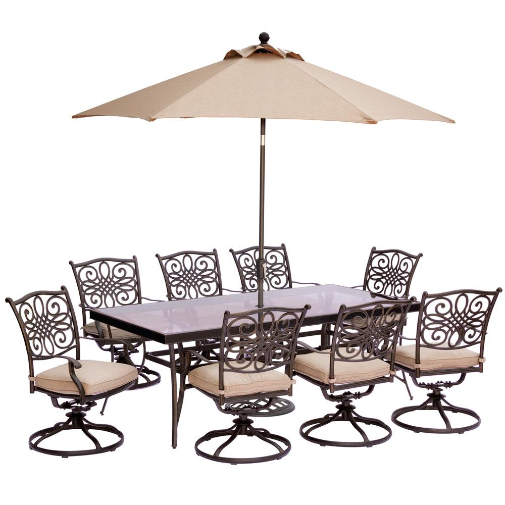 Hanover 9 Piece Outdoor Dining Set With Rectangular Glass Table And Swivels  With Natural Oat