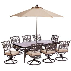 Hanover 9-Piece Outdoor Dining Set with Rectangular Glass Table and Swivels with... by Hanover