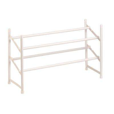 2-Tier 12-Pair Expandable Shoe Rack in White