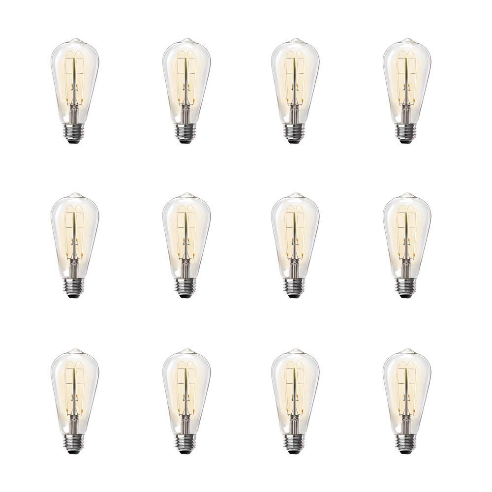 40-Watt Equivalent ST19 Clear Glass Vintage Edison LED Light Bulb with M Shape Filament Warm White (12-Pack)