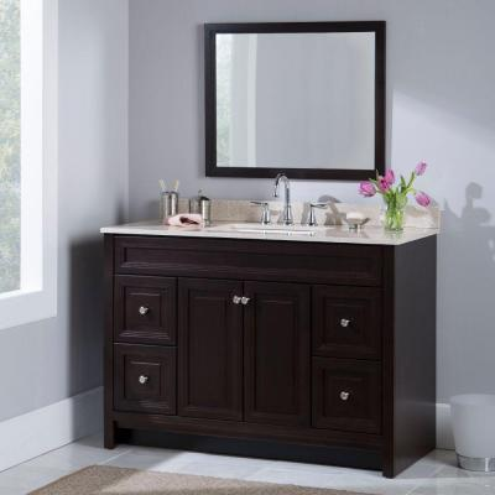 Single Sink Dark Brown Bathroom