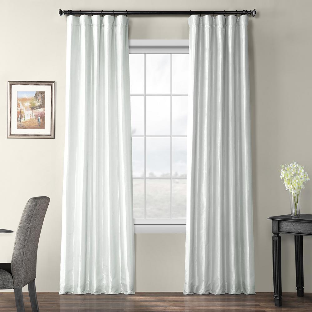 Feather Grey Gray Blackout Faux Silk Taffeta Curtain - 50 in. W x 120 in. L